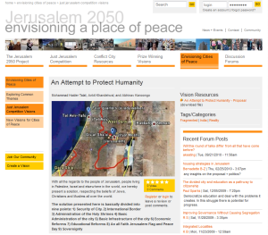 Envisioning Peace- Jerusalem Competition