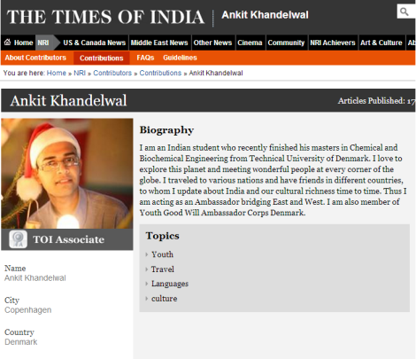 The Times of India Contributor Profile