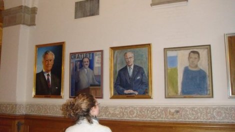 Sketch of former leaders of Denmark on display in Danish Parliament