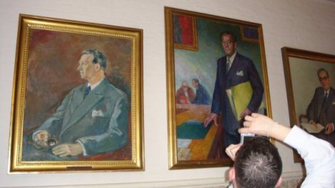 Sketches of former Danish leaders on display in Danish parliament