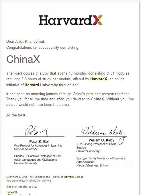 China X: Certificate of accomplishment | Ankit Khandelwal