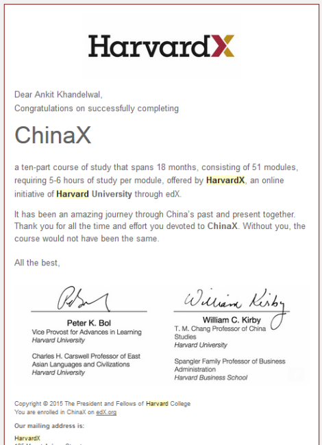 China X_Extra certificate