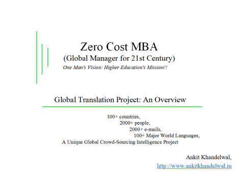 Zero Cost MBA translated into 100+ major world languages